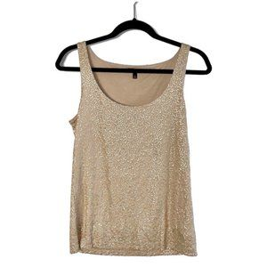 Talbots Gold Sequin Tank Top Size Small